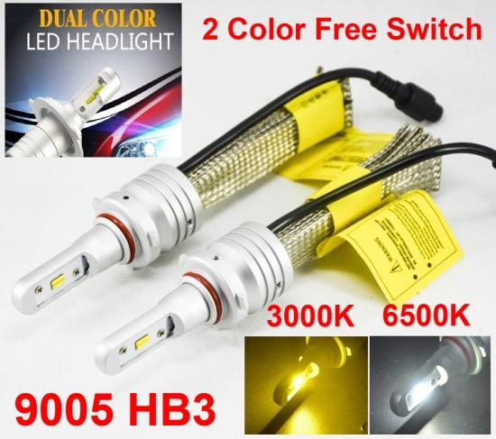 1 Set 9005 HB3 60W 8000LM S5 LED Headlight Kit LUMI ZES Chip Dual Color 3000K Golden Yellow + 6500K White Free Switch Fanless Changeable Bul