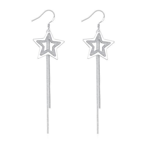 New Trendy Elegant Silver Plated Copper Fronst Five Point Lovely Star Long Tassel Dangle Fish Hook Earrings for Women Wedding Jewelry