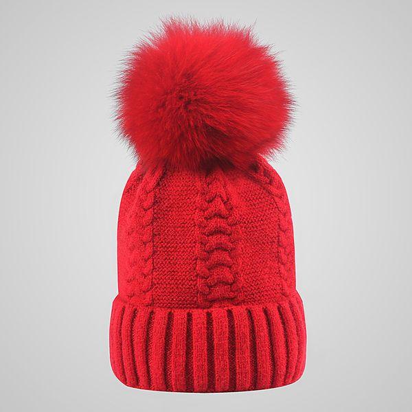 10 Colors Winter Double twist Beanie Knitted Big Rabbit Hair Fur Pom Poms Hat Women Cap Headgear Headdress Head Warmer Top Quality