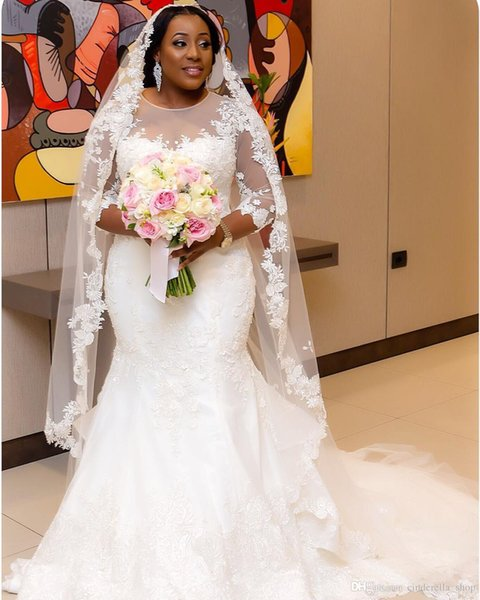 2019 Africa Plus Size Mermaid Wedding Dresses Jewel 3/4 Long Sleeve Sweep Train Illusion Bodice Appliques Beaded Chapel Country Bridal Gowns