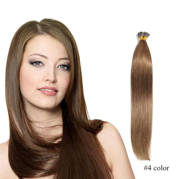 Estensioni 100% capelli umani prebond straight 100g (1 / filamento) stick hair I tip estensioni dei capelli cheratina # 4 # 6 # 8 marrone scuro spedizione gratuita