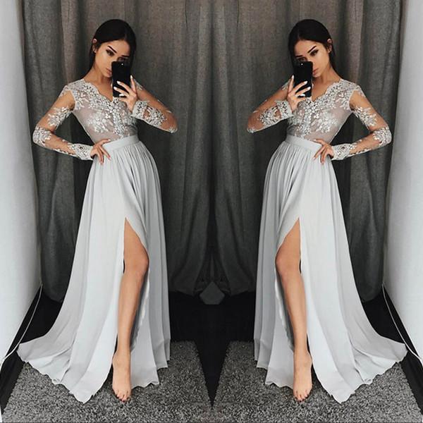 Vestidos de fiesta de manga larga de color gris plateado con cuello en vy apliques de encaje vestidos de fiesta formales con vestido de noche modesto de alta división