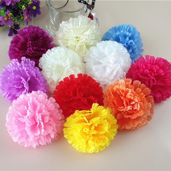 50Pcs 9CM Artificial Carnation Decorative Silk Flower Head For DIY Mother's Day Flower Bouquet Home Decoration Festival Supplies Party Deco