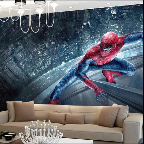 Spiderman Kids Bedroom Wallpaper Rotolo di grandi dimensioni Foto Murales 3D Sfondi murali per soggiorno Home Decor personalizzato