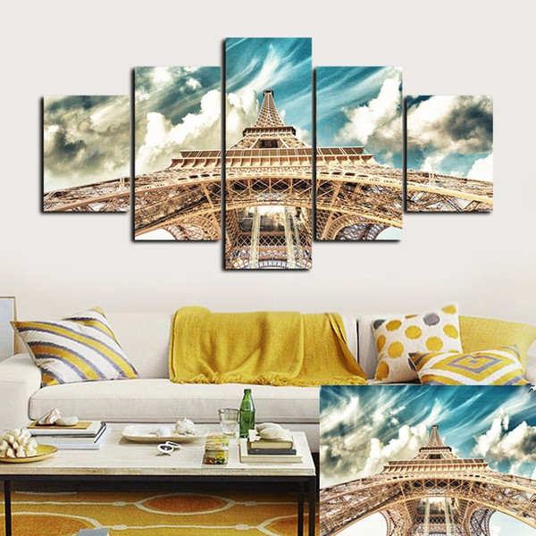 No Frame 5 Panels/set Wall Art Canvas Painting Pictures For Living Room Paris City Eiffel Tower Home Decor Modern Pictures