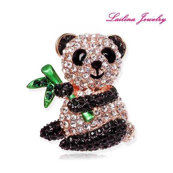 100pcs/lot Wholesale Bamboo Panda Brooch Pins Full of Black and White Crystal Rhinestone Brooches Birthday Gift
