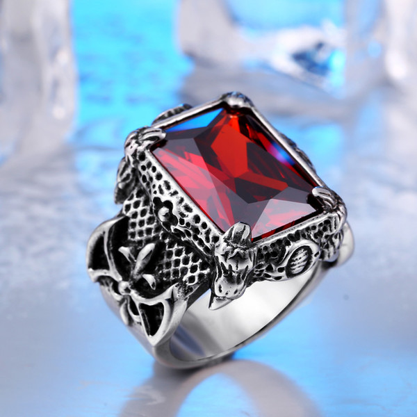 MCW Vintage Thailand Silver Style Titanium Stainless Steel Norsemen Soldier Modelling Gemstone Inlayed Rings For Men's Jewelry