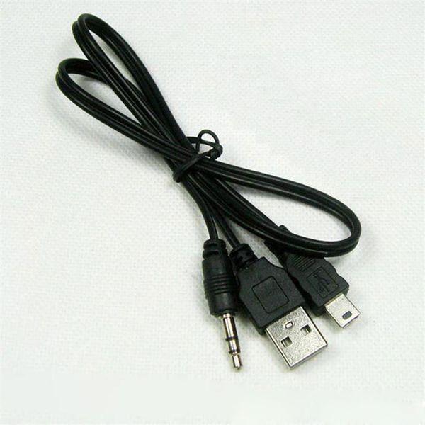 USB 2.0 Kablosu Mini USB Erkek Ve Erkek 3.5mm Fiş Ses / Video Hoparlör Kablosu 50 CM Siyah 1000 Adet Taşınabilir Hoparlör Ses Kablosu