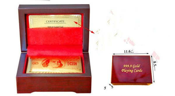 100pcs Gold foil plated playing cards Plastic Poker US dollar / Euro Style / General style with gift box Y067