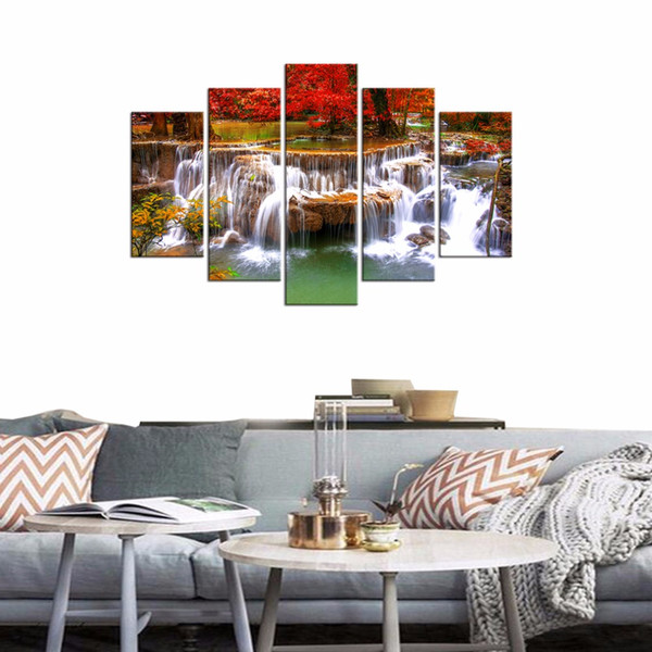 Canvas Prints Beautiful Autumn Red Trees Forest and Waterfall Landscape Picture Wall Art Living Room Home Decor Framed 5 Panels