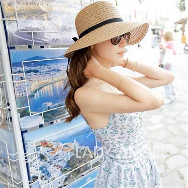 Sun Hat Mulheres Verão Dobrável Ampla Palha Cap Para As Mulheres Beach Resort Headwear Brim Caps Top Quality Nova Moda Traje Chapéus