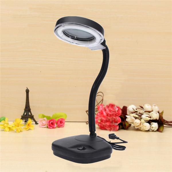 5-10X Lampada da lettura portatile pieghevole a LED da tavolo Lampada da studio a luce notturna + strumento per la riparazione di orologi con lente di ingrandimento