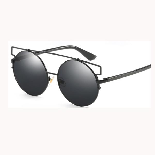 Moda caliente ronda doble haz gafas de sol hombres mujeres lente de la  película de color dc17c36256d1