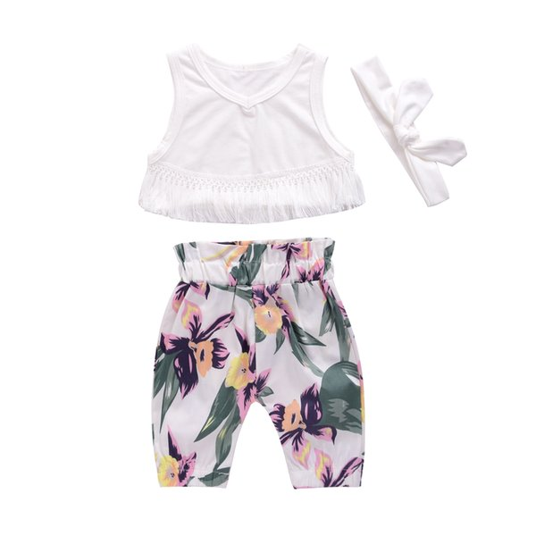 Mikrdoo Hot Sale Baby Suit Summer 2017 Cute Newborn Kids Girl Clothes Tassel Sleeveless White Tops Floral Pants Headband Outfit 3PCS Top Set