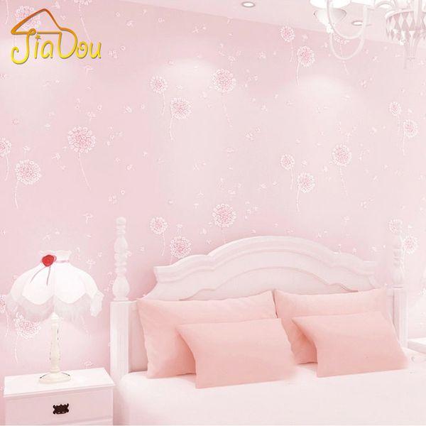 Dandelion Girls Bedroom Wallpaper Kids Non Woven Embossed Glitter Wall  Papers Home Decor Papel De Parede Printed Wallpaper Roll Wallpaper Hd ...