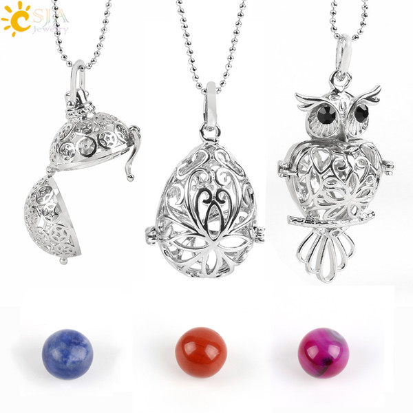 CSJA Necklace Locket Pendant Essential Oil Diffuser Perfume Necklaces with Gemstone Bead Aromatherapy Healing Jewellery DIY Making E503