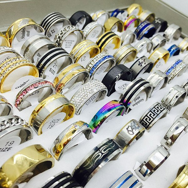 best selling wholesale bulk lots mix styles mens womens stainless steel fashion jewelry rings brand new assorted colors