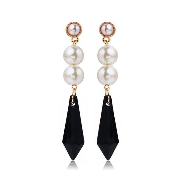 RAVIMOUR Spike Crystal Длинные серьги для женщин Новый 2017 Мода Имитированные жемчужины Золото Цвет Punk Earing Корейский Brincos