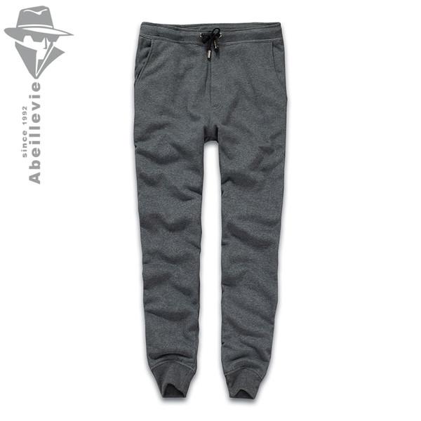 Wholesale-Abeillevie New Fashion Cotton Long Men's Pants Solid French Terry Casual Pants Men Big & Tall Plus Size Joggers SweatPants 8611
