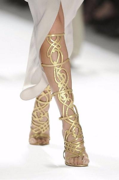 Sexy Frauen Gold Sommer Gladiator Sandalen Ausgeschnitten High Heels T Zeigen Lady Pumps Plus Größe 35-42 Damen Stiefel Schuhe Großhandel