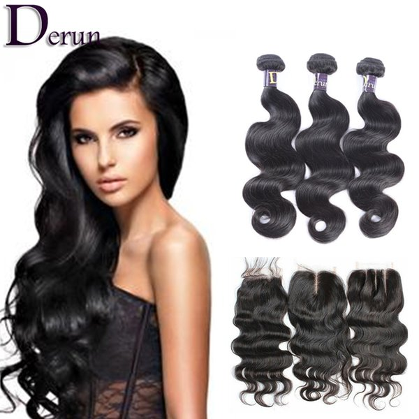 7A Peruvian Indian Malaysian Brazilian Hair Bundles Unprocessed Human Hair Weave And Closure Brazilian Body Wave Hair Extensions
