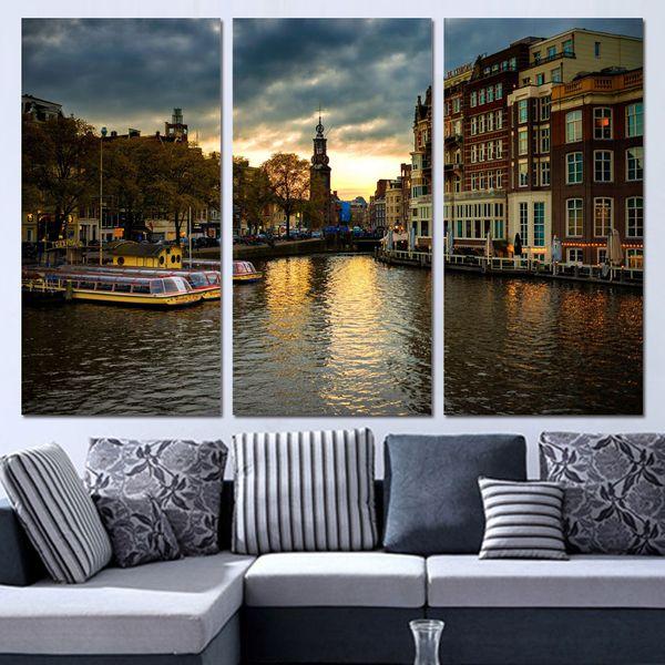 Acquista 3 Pezzi Su Tela Amsterdam House Canal Home Decor Wall Art Pittura  Stampe Su Tela Immagini Soggiorno Poster A $34.01 Dal Solutionwinni   ...