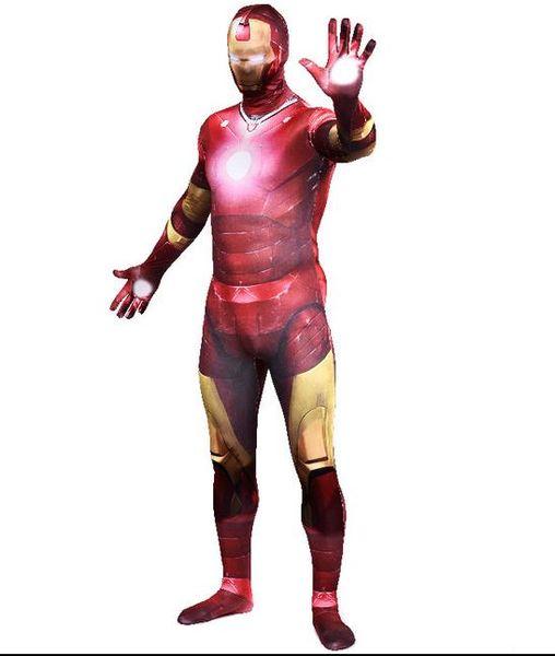 DHL Iron Man Spandex Lycra Full Body Skin Zentai Suits Cosplay Costume Superhero Morph Fancy Dress
