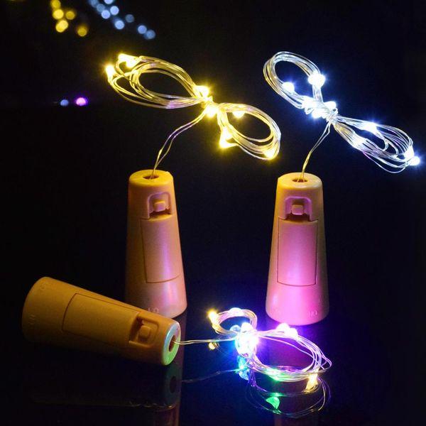 2M 20LED lamp Cork Shaped Bottle Stopper Light Glass Wine LED silver Wire String Lights For Christmas Party Supplies Wedding LED Vase garden