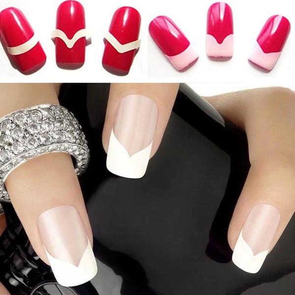 Wholesale- Yaoshun French Manicure Nail Art Tips Stickers Guide Stencil Professional Brand 3pcs DIY Nail Art Salon Sticker