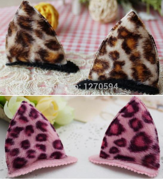 Custom Plush Leopard Cat Ear Hair Clips Girls Fashion Hairpin Brown Pink Cat Ear Tridimensional Cute and Sweet Hair Accessories