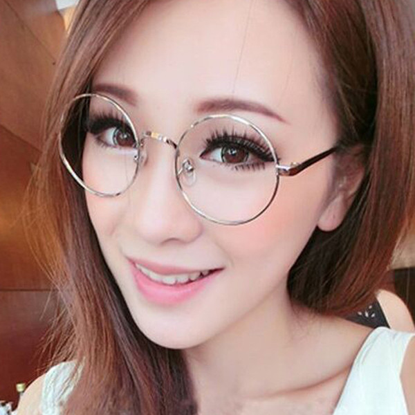 Wholesale- 2017 New women round flat mirrors computer glasses Read mirror Alloy frame Myopia Spectacle frames Women harajuku sunglasses