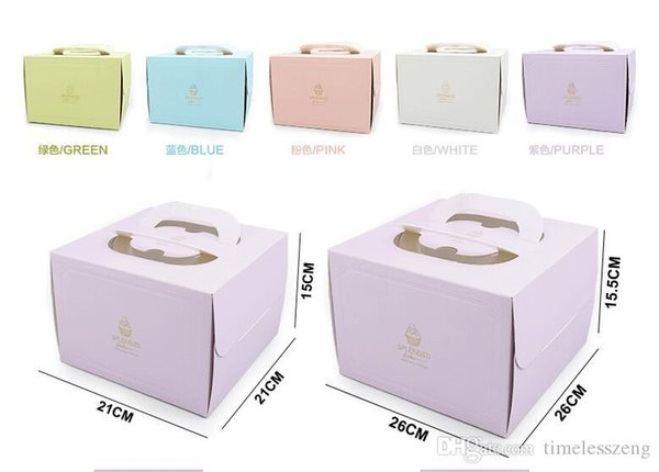 2017 6 inch and 8 inch Portable Handle Bakery Cake Boxes European Gold Foil Biscuit Cake Box 5 Color Mousse Cookies Pastry Packaging Boxes