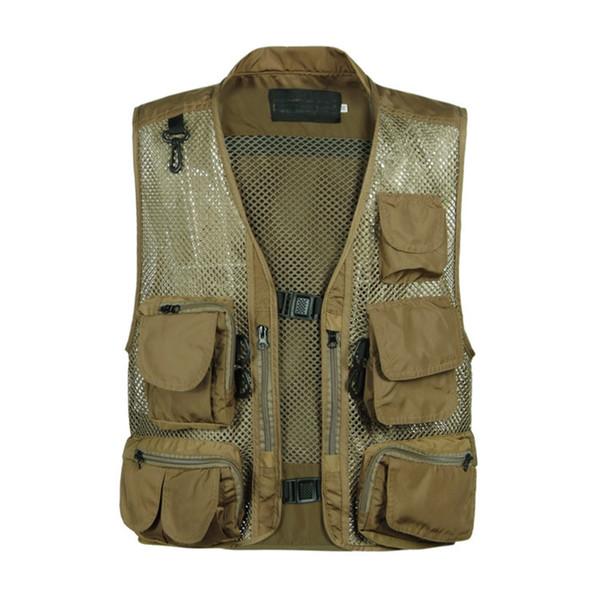 Wholesale- New Arrival Summer Mens Multi-Pockets Mesh Vests Waistcoat Shooting Vest Photographer Vest Plus Size