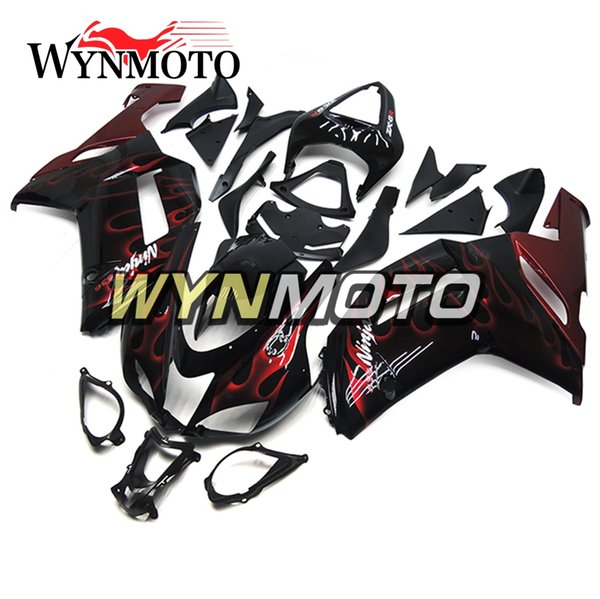 Fairings For Kawasaki ZX-6R 636 2007 2008 Injection ABS Plastics Hull Cowling Covers Motorbike ZX6R Body Kits Motorbike Black Red Flames Kit