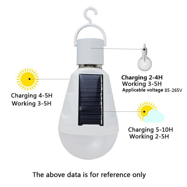 best selling E27 7W Solar Lamp 85-265V Energy Saving Light LED Intelligent Lamp Rechargeable Solar Emergency Bulb Daylight ZJ0557