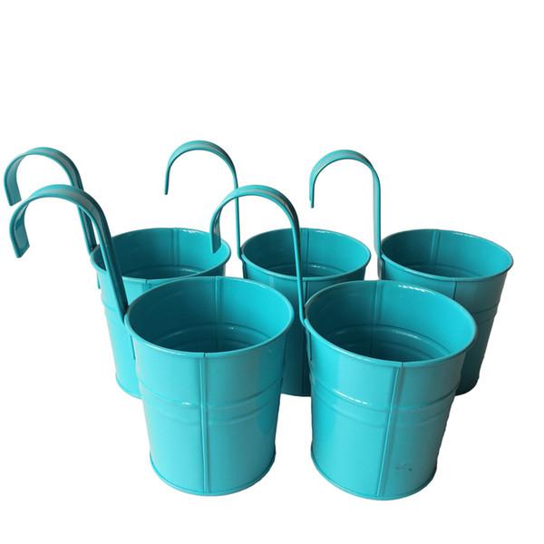 D9.5XH17.5CM blue Color Metal Plant Flower Pot Hook Planter Hanging Buckets wall hanging planter flowerpots balcony flower tub