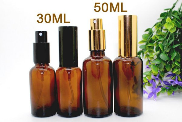 30ml di vetro ambrato spray bottiglie all'ingrosso di oli essenziali bottiglia di vetro con tappo nero per i profumi cosmetici da DHL