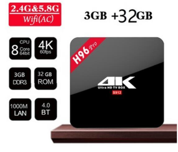High configuration Android TV Boxes H96 Pro Amlogic S912 Octa-Core 3G/32G 2.4G/5.8GHz Wifi Newest Smart Media Player H96Pro+