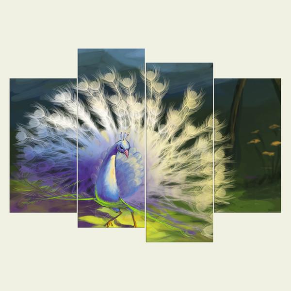 (Kein Rahmen) Peacock Serie HD Leinwand Drucken 4 Stück Wand Kunst  Ölgemälde Texturierte Abstrakte