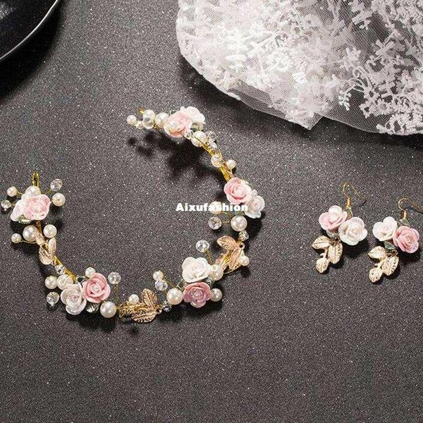 Fashion Bride Pink Crystal Big Baroque Style Crown Tiara Set Luxury Brides Baroque Hair Accessories Gold Leafs Pearl Jewelry