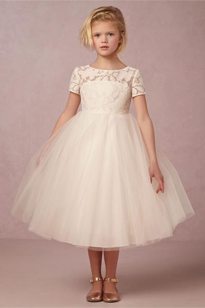 Compre Beige Vestidos Florales Para Niñas Vestidos De Fiesta De Manga Corta Vestido De Bola Plisados Vestidos De Fiesta Para Niñas De Tul Vestidos
