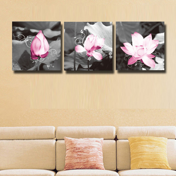3 Pcs/Set impression lotus Canvas Print Painting For Living Room ...