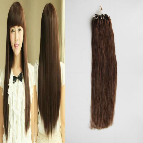 #6 Medium Brown Straight Loop Micro Ring Hair 1g/strand 50s/pack 50g Apply Natural Hair Micro Link Hair Extensions Human 4b 4c