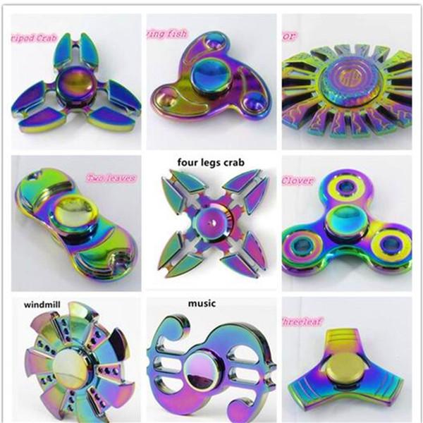 Rainbow Fidget Spinner Colorido EDC Gyro Toys Spinner de mano Cangrejo Flying Fish Metal Fidget HandSpinner 9 tipos con paquete al por menor