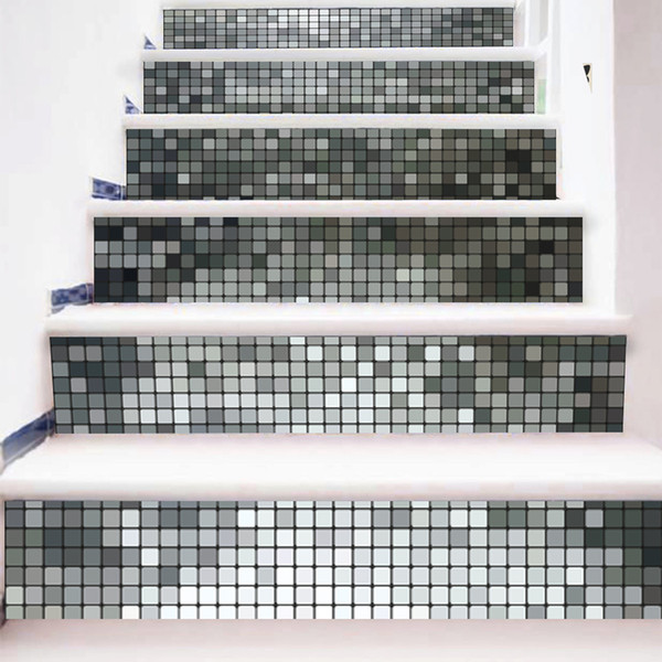 3D 6pcs /set Silver Mosaic Pattern DIY Home Stairs Wall Sticker Stairs Sticker Mural DIY Landscape Paper for Living Room Decor