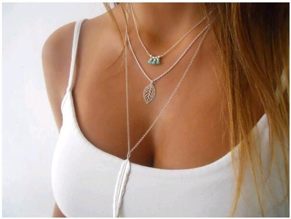 Cheap Multilayer Metal Leaf Beads Beaded Feather Pendant Necklace Concise Europe Women Necklace Fashion Jewelry Wholesale Free Shipping