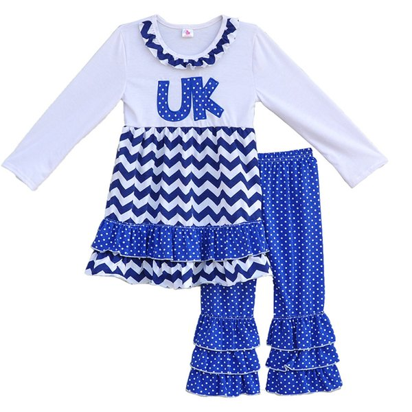 Wholesale- Factory Selling Girls Spring Boutique Clothing Round Neck UK Letter Pullover Tops Ruffle Leggings Kids Outfits Clothes Sets F062