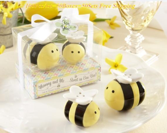 (100Pcs/lot=50Boxes) Baby birthday Decoration gift of Mommy and Me Sweet as Can Bee Ceramic bee Salt and Pepper Shakers For Party Favors