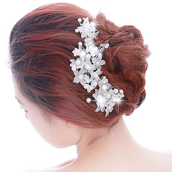 Wholesale 3 pieces/lot Bridal Hairpins Handmade Lace Pearl Bride Headdress Wedding Hair Accessories New Hot Women Hair Combs Hair Jewelry