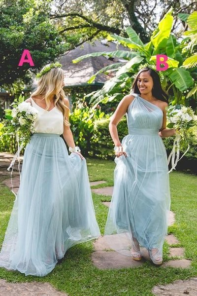 2017 Maxi Bridesmaid Dresses Dusty Blue One Shoulder Floor Length Sweetheart Tulle Plus Size Wedding Guest Gowns Maid of Honor Dress